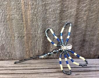 Dragonfly Hair Pin, Dragonfly Bobby Pin, Dragonfly Wedding Hair Pin, Beaded Dragonfly Hair Clip, Beaded Hair Pin, Chrome Beaded Bobby Pin