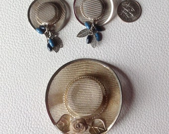 Miniature hat pin and earring set