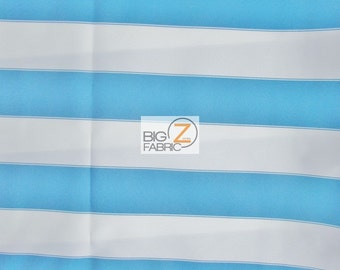"2 Tone Stripe Deck Outdoor Waterproof Fabric - AQUA/WHITE - 60"" Width By The Yard"