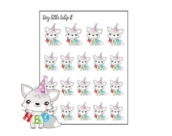 Planner Stickers White Fox Happy Birthday