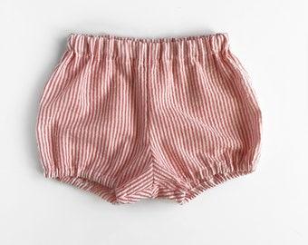 pink stripe seersucker bloomers on white - baby toddler girl bloomers