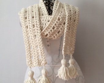 Crochet Scarf - Skinny Scarves - Scarf with Tassels - Warm Scarf - Crochet Long Scarf - gift for her - Oversized Scarf - Winter Scarf -