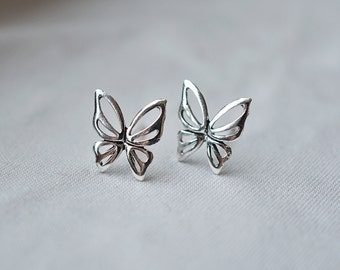 10 mm Butterfly Studs, Handmade Sterling Silver Butterfly Earrings Tiny Butterfly Studs Insect stud earrings Butterfly wing earrings TSAM016