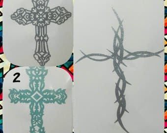 Cross decal / yeti decal / glitter cross decal / choice of color