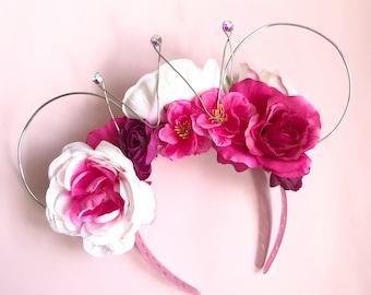 Pink Flower Crown Minnie Ears
