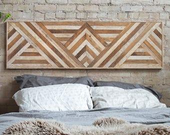 "Reclaimed Wood Wall Art, Queen Headboard, Wood Wall Decor, Geometric Triangle Pattern, 60"" x 18"", Wood Headboard, Wood Wall Art, Rustic Art"