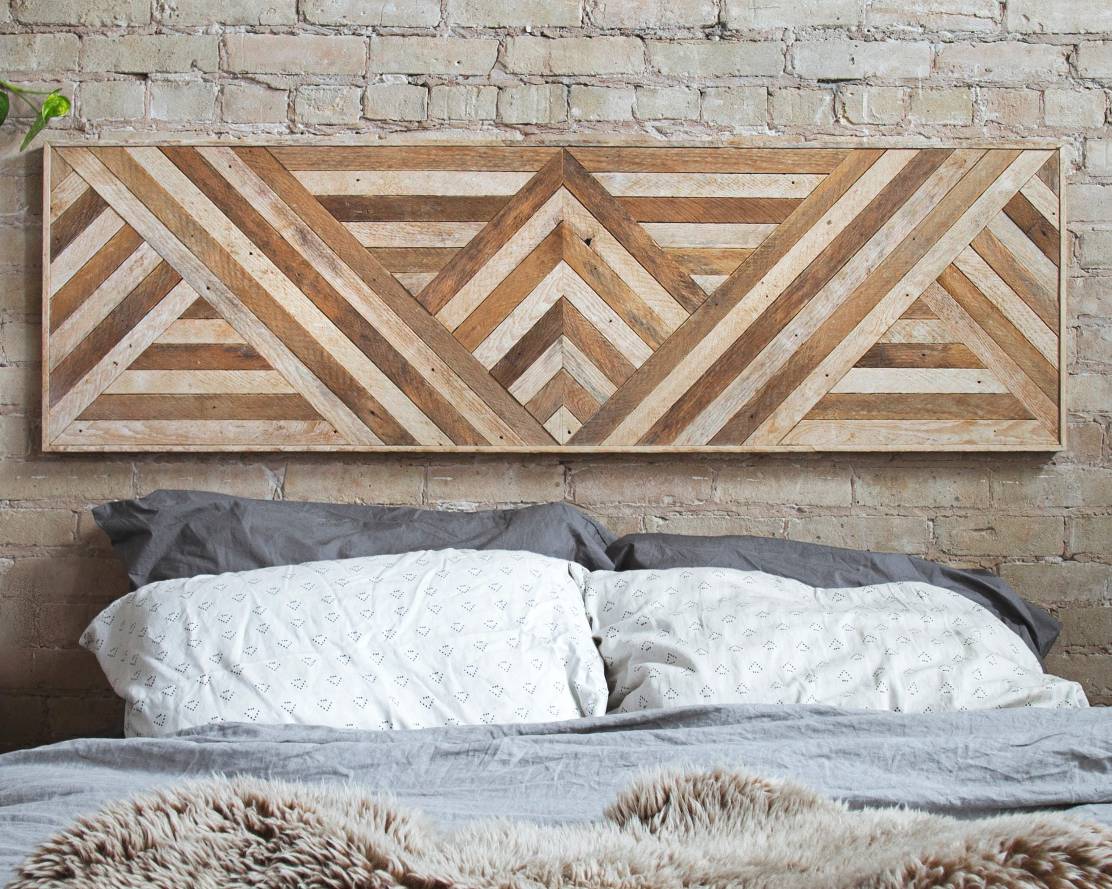 Reclaimed Wood Wall Art Queen Headboard Wood Wall Decor Geometric