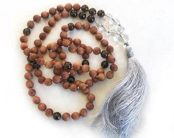 Love and Patience Mala Beads, Mala Of Unconditional Love, Rose Quartz And Clear Quartz Mala Necklace,  Sandalwood Mala Beads, Yoga Mala