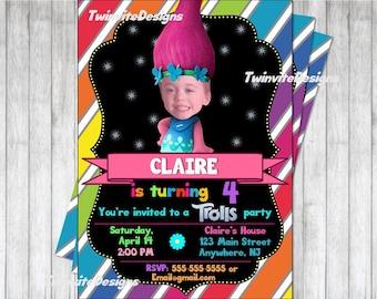 Trolls Birthday Invitation / Twins or Siblings / Trolls Party / Printable Digital File