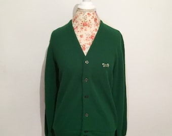Vintage 1970's sweater // The Fox green cardigan // mens bohemian 70's hipster