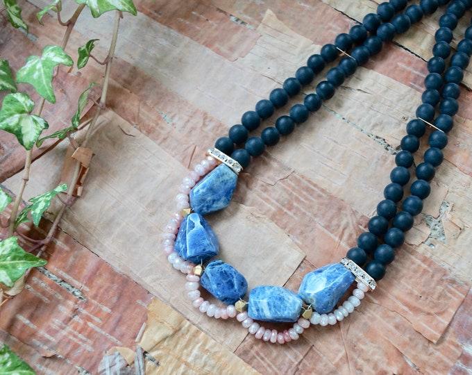 Blue gemstone necklace - Natural blue sodalite crystal