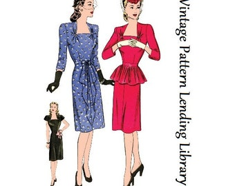 1944 Ladies Cocktail Dress - Reproduction Sewing Pattern #F1449