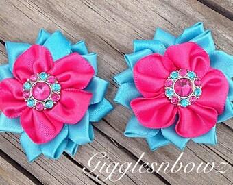 "Satin Flowers Shocking Pink- Turquoise Ribbon Flowers- 1.75""- Headband Flowers- Diy Supplies- Fabric Flowers- Hair Accessories- Rhinestones"