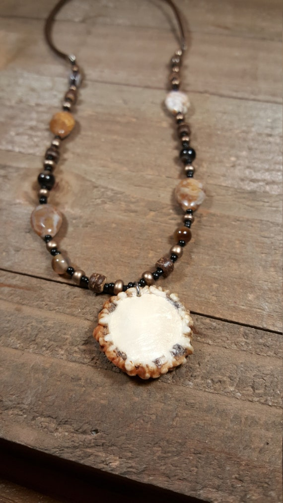 Real Deer Antler Burr Cap Handmade Necklace Multiple Black Beads And Stones Jewelry Leather
