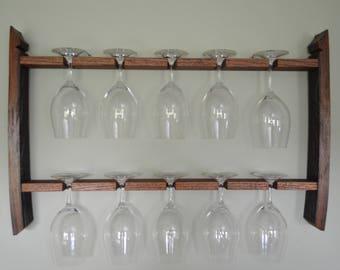 wine glass rack, reclaimed wine barrel