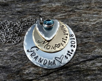 New Grandma Necklace - First Time Grandma - Grandma Est -