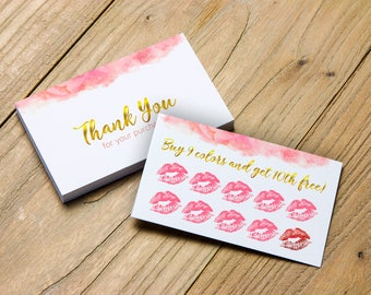 LipSense Punch Cards, Senegence Loyalty Cards, LipSense Thank You Card, Buy 9 Colors Get 10th Free,LipSense Loyalty Card, LipSense Marketing