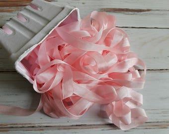 5 yards Baby Pink Seam Binding. Packaging, Scrapbooking, Shabby Pretty Embellishment
