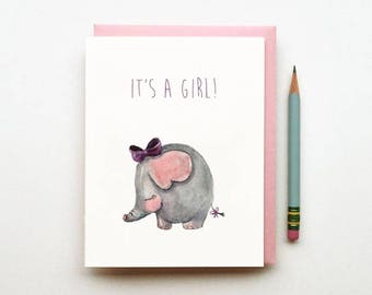 Elephant, Children's Card, New baby Card, Animal, Birthday Card, Baby Girl, Greetings Card