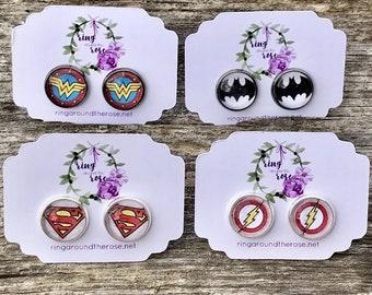 12mm D.C Comic Earring Studs / Wonder Woman / The Flash / Superman / Batman / Justice League Swag / Gift Ideas