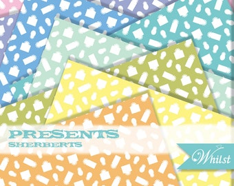 Birthday digital paper presents scrapbooking orange yellow blue green pink purple aqua : L0741 v301 3sSherbert