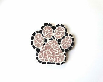 Dog Coasters, paw print coasters, coffee table coaster, drink coaster, mosaic coaster, dog lover gift, table coasters, work desk coaster