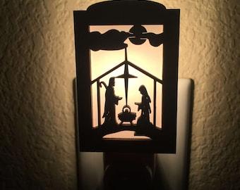 Religious Night Light - Night Light Plug In - Night Light Nativity - Nativity Scene - Night Light Nursery - Wood Night Light - Nursery Light
