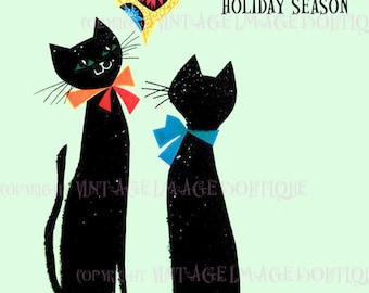 Fabulous 1950's Kitschy Illustration Of Two Black Cats Under A Bauble Ornament Seasonal Winter Solstice Holiday 5x7 Greeting Card