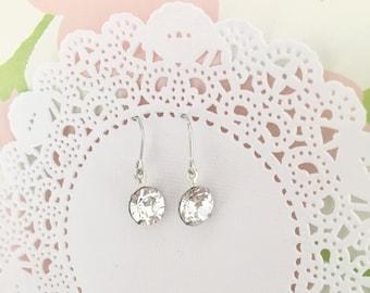 Dainty classic minimalist swarovski crystal drop earrings for everyday. Dainty minimalist bridal drop earrings. classic bridesmaids earrings