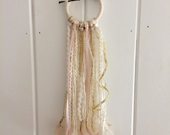 Mini dream catcher - creams, golds and pinks