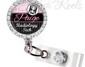 Retractable ID Badge Reel - Personalized Radiology Tech Badge ID Reel - X Ray Tech Rhinestone Badge Reel, Bling Badge Reel  - 0119