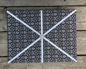 Dark Floral Fabric Board w/ Cream White Ribbon (CP)