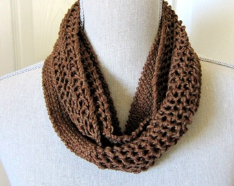 SALE HandKnit Women Knit Infinity Scarf - Linen and Lace Knit Textures - Your Choice of Color