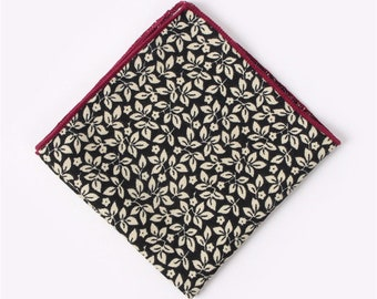 Black Floral Pocket Square  | cotton handkerchief |  gift for groom | mens handkerchief | mens pocket square | wedding accessories