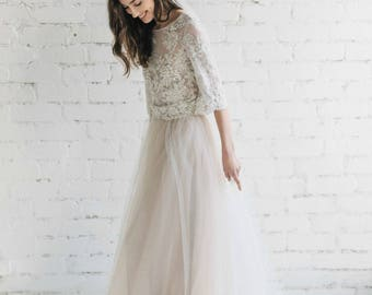 Bohemian Wedding Dress, Nude Lace Wedding Dress , Bridal Separates ,  Two Piece Wedding Dress , Lace Gown, Tulle Wedding Dress - PEONY