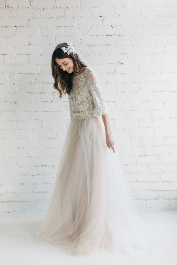 Boho Wedding Dress Bridal Separates Nude Lace Wedding Dress