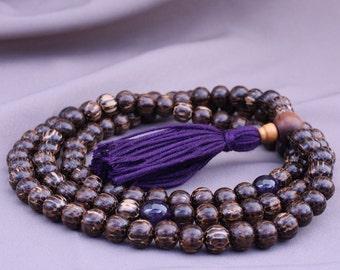 Palmwood Mala Necklace with Amethyst - Tibetan Style Mala Prayer Beads