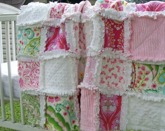Custom Order for Laurie,  2 Kumari Garden Crib Rag Quilts Pink All White Minky Back Green Coral Baby Bedding Gift  Photo Prop Amy Butler