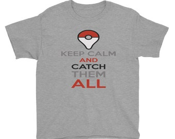 Pokemon Tee, Keep Calm and Catch them All Tee T-Shirt