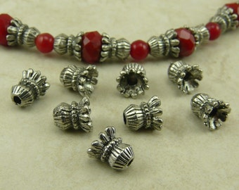 Lantern Bead Caps Corrugated Small Qty 6 > Victorian Style Antique - Silver Tone American Made Lead Free Pewter - I ship internationally