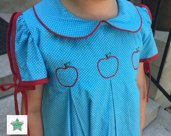 Apple Dress, Back to School Dress, Girls Dresses