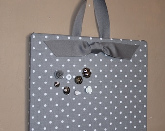 "Magnetic bulletin board Fabric Magnet Board (18"" x 24"") grey mini dot, Bulletin Board, command center"