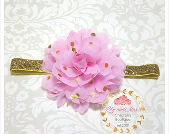 Pink and gold headband, pink and gold polka fluffy flower on gold glitter elastic headband, soft baby headband, toddler headband, photo prop