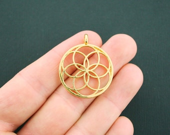 4 Seed of Life Charms Antique Gold Tone Stunning 2 Sided - GC787