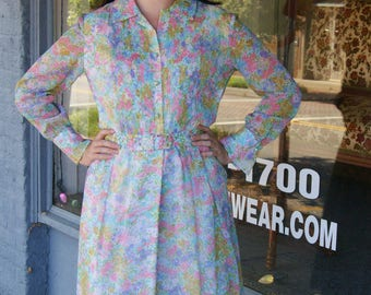 Vintage 1960s Pastel Floral Day Dress Serbin by Muriel Ryan - Size 6 to 8