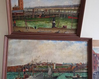 Three Oil Paintings on Board signed TWG scenes of Tynemouth North East England undated