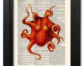 Octopus art print, Bathroom decor, Dictionary art print, Vintage book art print, coastal decor, Home Wall Decor, Gift poster [ART 024]
