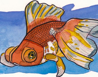 Goldfish ORIGINAL Gouache and Watercolor Painting