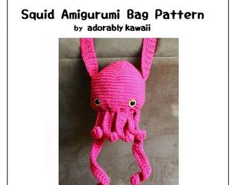 Squid Amigurumi Bag Pattern, Cephalopod Plush Bag, Amigurumi Crochet Pattern, Crochet Squid, Cute Crochet Bag Pattern, Octopus Amigurumi Bag