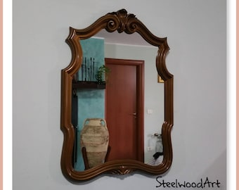 Antique mirror with hand carved frame 70s Baroque style